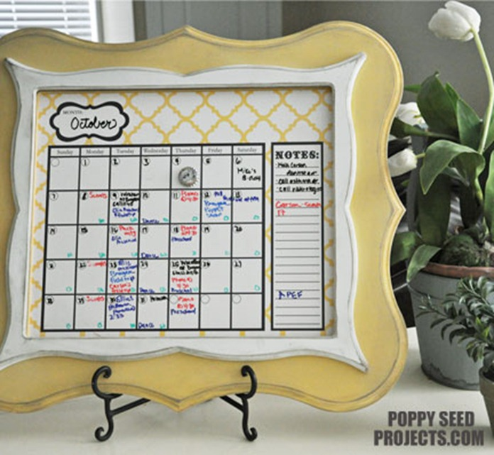 Super-Saturday-Ideas-Dry-Erase-Calendars-yellow-quatrfoil-eleanor-frame-broolynn-trim