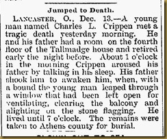 Charles L. Crippen  Article in the Newark Daily Advocate, Newark , Ohio