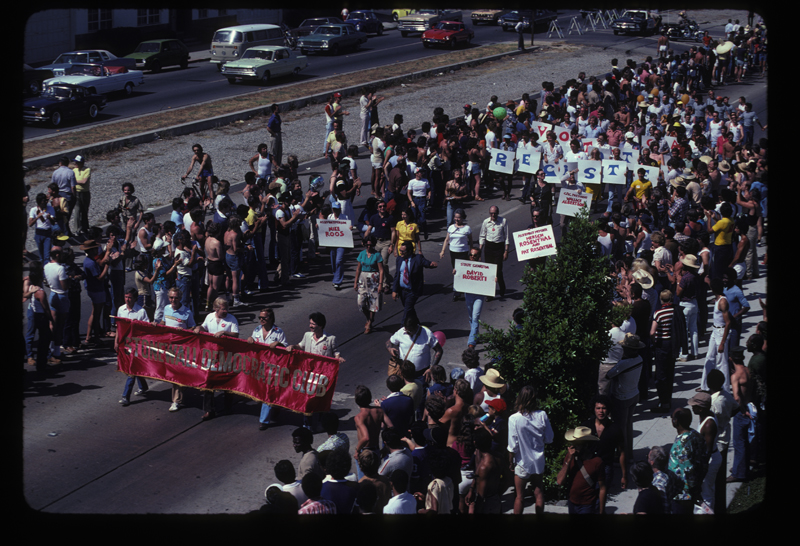 Stonewall Democratic Club at the Los Angeles Christopher Street West pride parade. 1979.