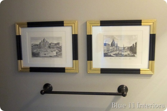 Black frames with painted gold corners