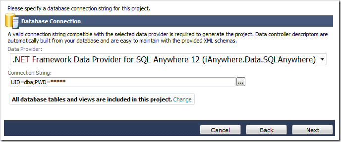 Selecting the data provider and pasting in the connection string.