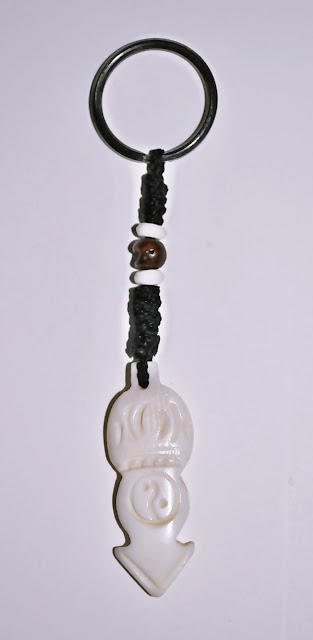 White Peace Design Bone Keyring