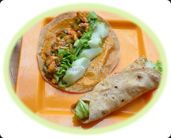 Home made kathi rolls on a platter