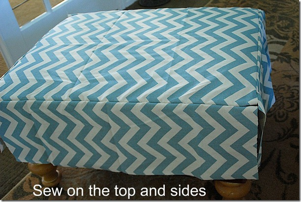 sew on the top and sides of the slipcover