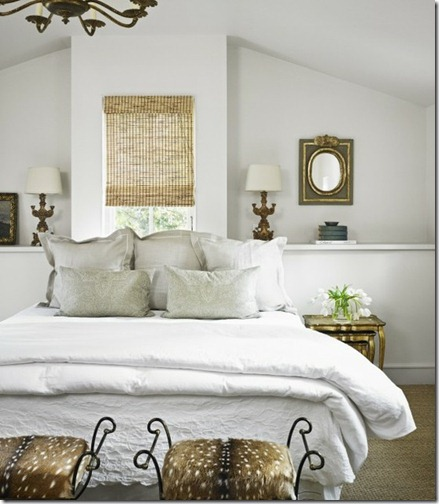 white bed w gray pillows via pinterest