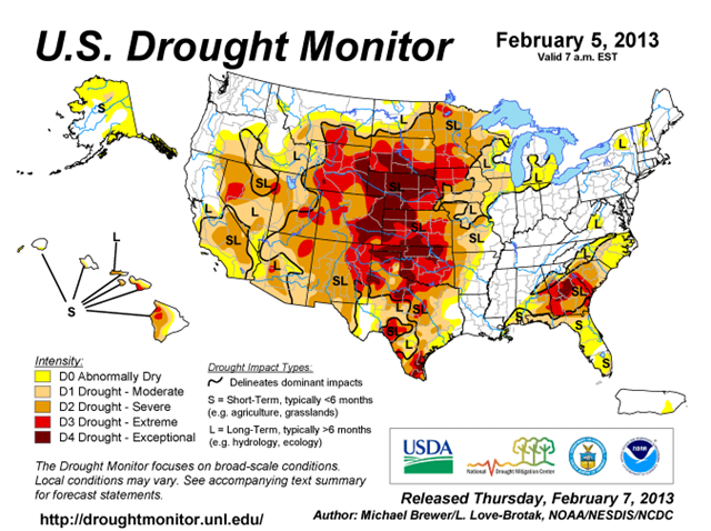 U.S. Drought Monitor, 5 February 2013. Harsh drought conditions expanded in key U.S. farm states in the nation's midsection over the previous week. Graphic: Michael Brewer / L. Love-Brotak / NOAA / NESDIS / NCDC