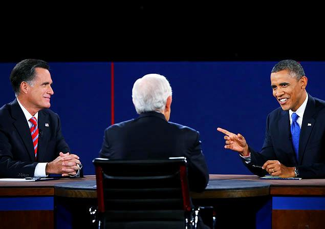 President Obama and Mitt Romney square off during the final Presidential debate of the 2012 U.S. election. No mention of global warming was made in any of the 2012 debates. Joe Raedle / Getty Images