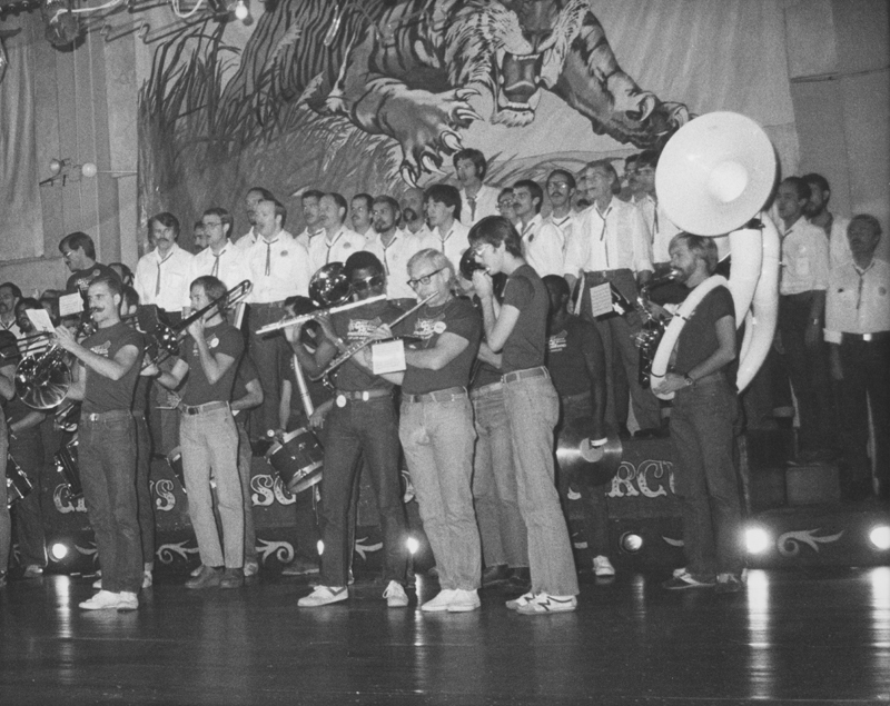 The Great American Yankee Band and the Gay Men's Chorus play at a band and chorus thank you party at Circus Disco. Circa 1979.