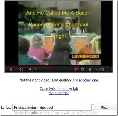 PlayByLyrics - Vedere video musicali YouTube con testo impresso