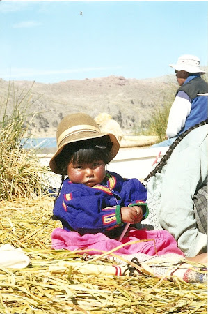 Young kid on Titicaca lake