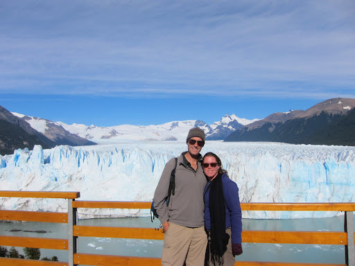 Posing on one of the walkways in front of the glacier.