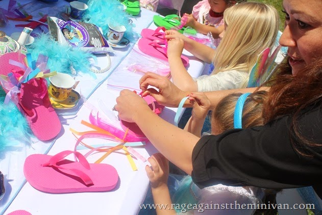 Birthday party craft and favor idea: buy inexpensive flip-flops and ribbon and let the kids create their own fancy sandals