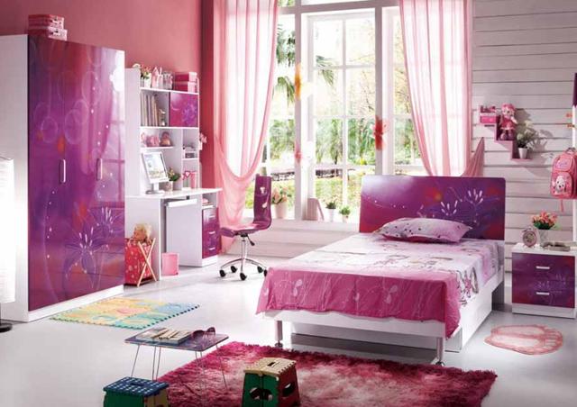 desain kamar tidur anak perempuan warna ungu