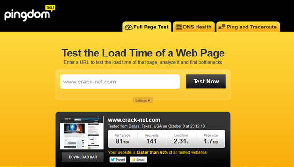 Pingdom Tester la performance de votre site web