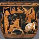 Vaso acampanado de figuras rojas, Pintor de Iliupersis, Apulia, 360 a.C. aprox. (detalle cara A)