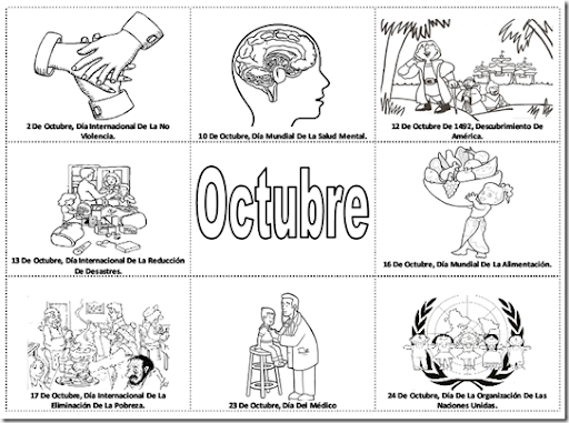 Pinto Dibujos: Fechas importantes de octubre para colorear ...