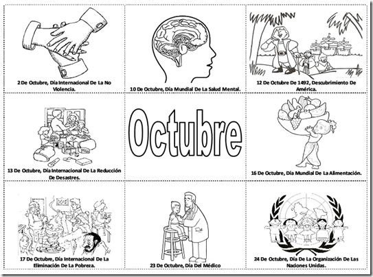 Fechas importantes de octubre para colorear -  efemérides de octubre para pintar
