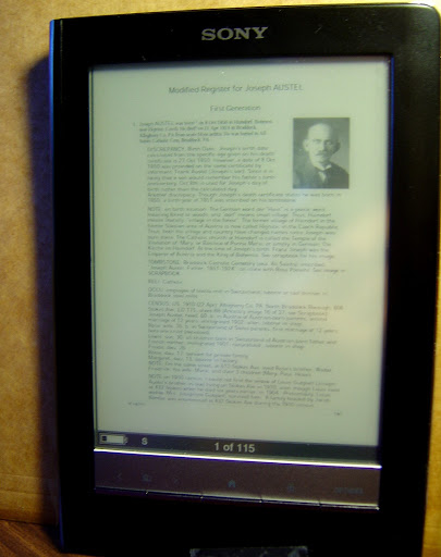 Sony eReader (TM), vertical orientation, no zoom (shows whole page)