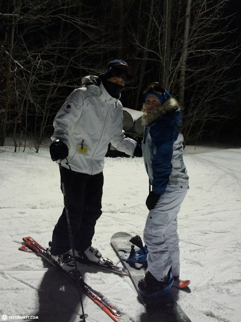 the happy couple snowboarding and skiing in Milton, Ontario, Canada