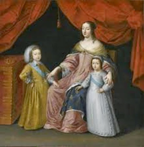 Ana de Austria y sus dos hijos Luis XIV y Felipe