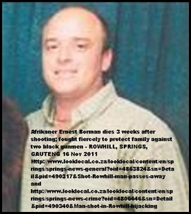 Borman Ernest died Nov 16 in hospital from hijacking shooting when he defended his son Oct 25 SPRINGS