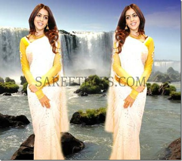 Genelia_White_Saree