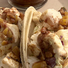 Halibut Tacos with Peach Salsa