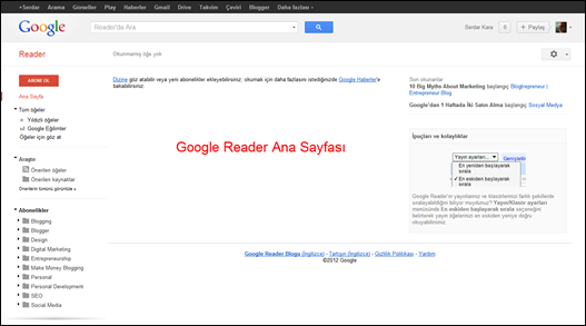 Google Reader Ana Sayfa