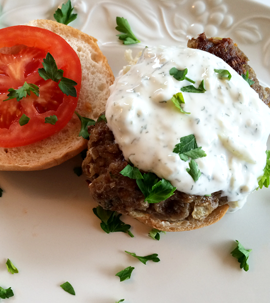 Homemade Greek Burgers with Tatziki | It's All Greek to Me Food Blog Tour #OneYrGreek | Shan Made