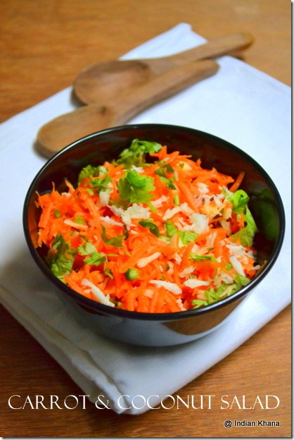 Easy Coconut carrot salad side dish for rasam recipe