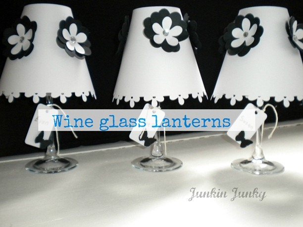 wine glass lanterns at www.junkinjunky.blogspot.com