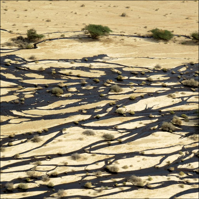 Aerial view of an oil spill in the Evrona Nature Reserve, Israel, on 3 December 2014. Photo: Israel Environmental Protection Ministry