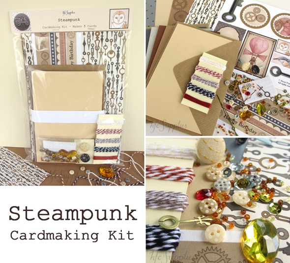 Steampunk cardmaking kit 5 cards paper buttons bakers twine