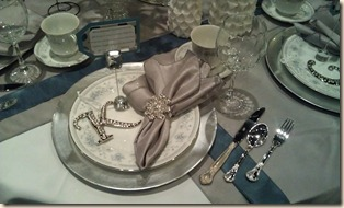 Place setting-silver and white tablescape 12-15-11