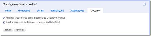 como deixar de publkicar postagens do G  no Orkut