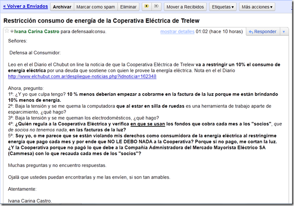 captura mail defensa al consumidor
