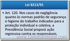 Art. 120. Nos casos de negligência quanto às normas padrão de segurança e higiene do trabalho indicados para a proteção individual e coletiva, a Previdência Social proporá ação regressiva contra os responsáveis.