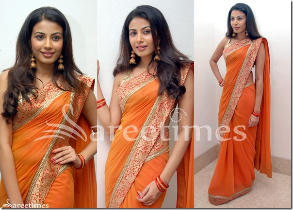 Kavya_Shetty_Orange_Saree