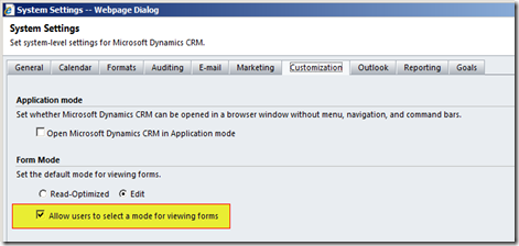 Dynamics CRM Default Viewing Mode
