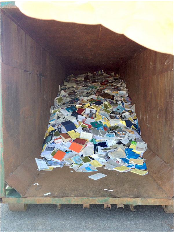 The Maurice Lamontagne Institute library in Mont Joli, Québec in a dumpster, part of the Harper administration's assault on environmental and ocean science in Canada. Science library holdings of all 9 of DFO's libraries across the country are being consolidated to just two: one in BC and one in Halifax. Photo: Unmuzzled Science