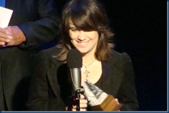 Kristen Scott Benson  accepting the International Bluegrass Music Association (IBMA) fro Banjo Player of the Year 2011.  Her fourth consecutive win!