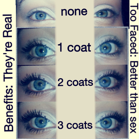 1e503544eca So as you can see from the very first coat there is a huge difference,  Benefits made my lashed look extremely long and noticeable. Too Faced made  my lashes ...