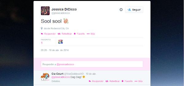 Tweet de Jessica Dicicco
