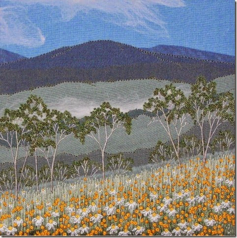Judy Wiford  Mist Rising, East of the Tablelands 2013 embroidered canvas