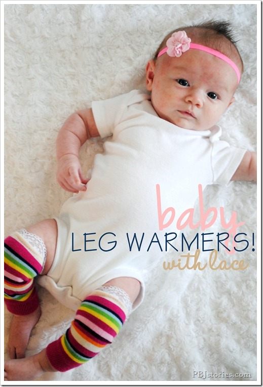 Easy baby leg warmers with lace on PBJstories