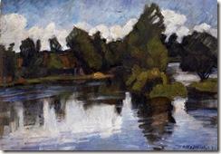 Sommerhochwasser im alten Dorf, 1924