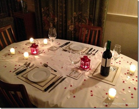 Table laid out for our St Valentine's Dinner