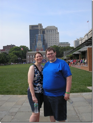 Cyndi and Kevin at Independence Hall in Philadelphia, PA
