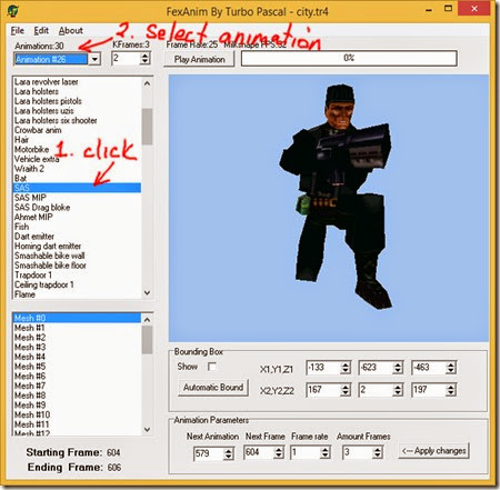 Select a shooting animation in Fexanim