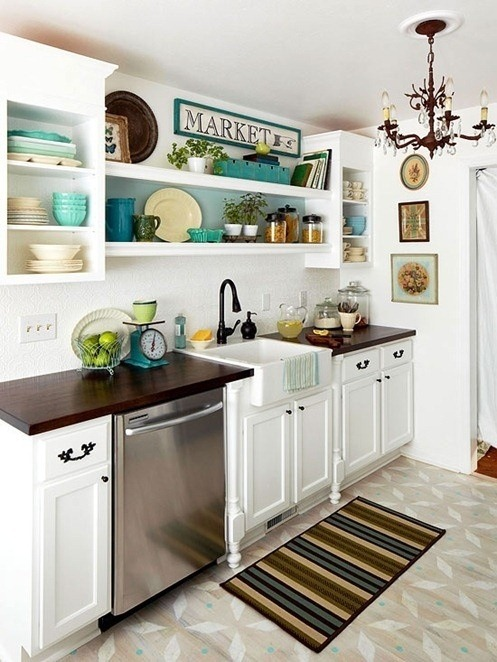 open shelving above kitchen sink